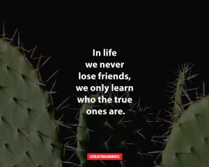 In life we never lose friends, we only learn who the true ones are.