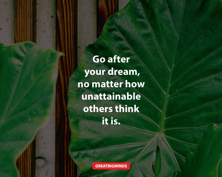 Go after your dream, no matter how unattainable others think it is.