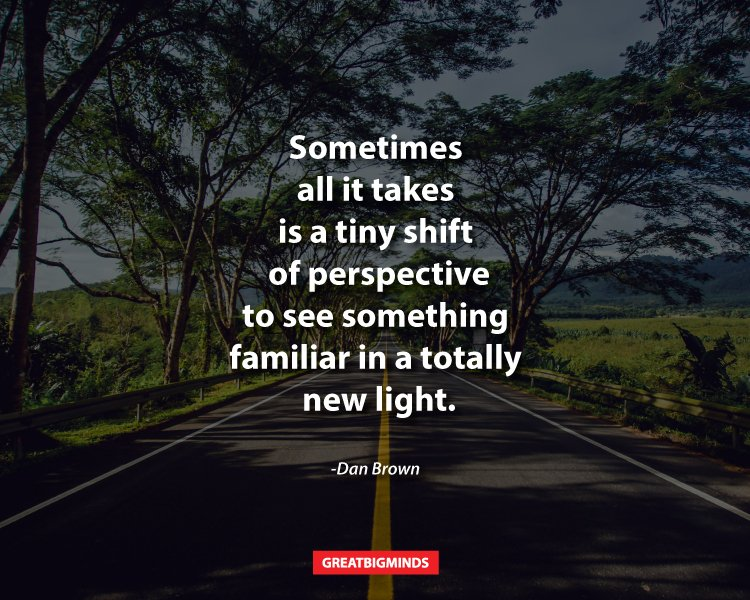 Sometimes all it takes is a tiny shift of perspective to see something familiar in a totally new light. -Dan Brown